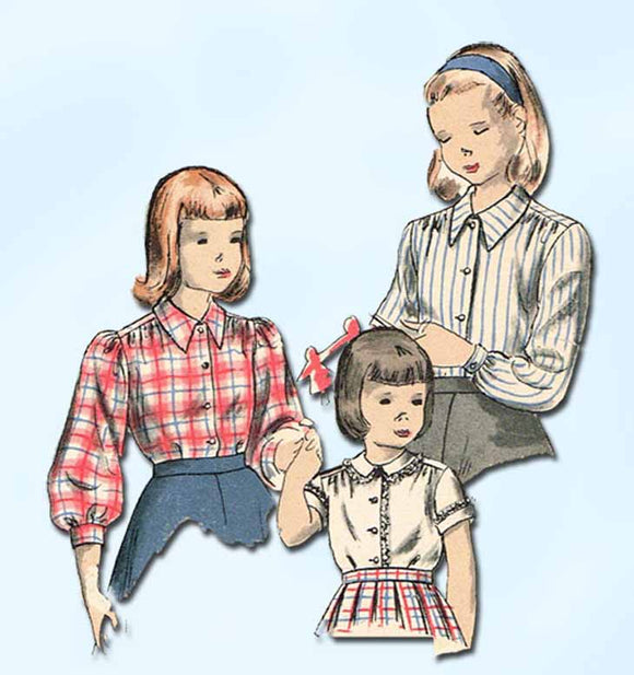 Vogue 2521: 1940s Classic Little Girls Blouse Size 12 Vintage Sewing Pattern - Vintage4me2