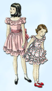 1940s Vintage Toddler Girls Ruffled Dress Vogue Sewing Pattern 2568 Sz6 24B