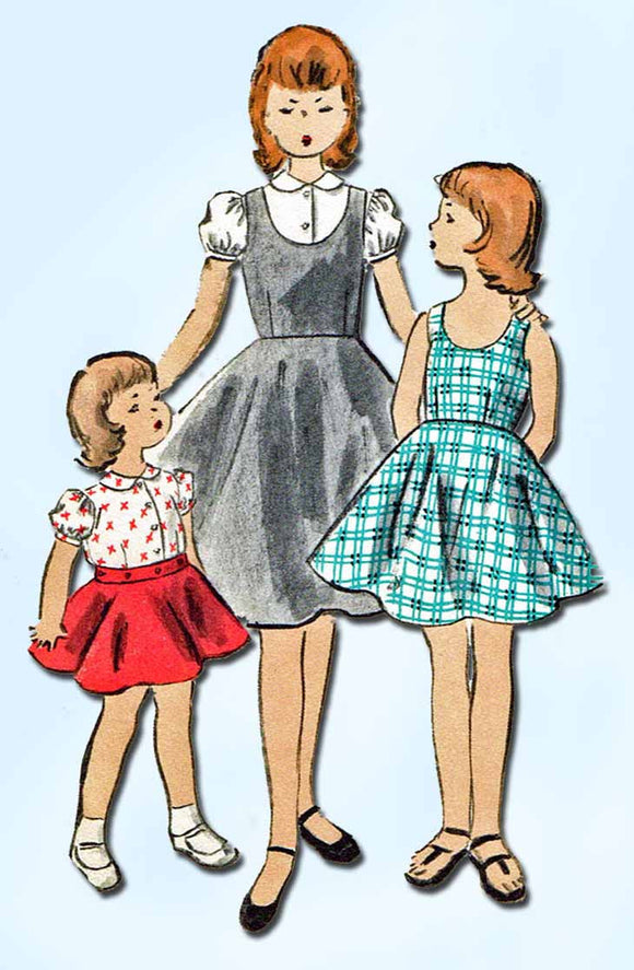 1950s Vintage Vogue Sewing Pattern 2685 Little Girls Jumper Dress & Blouse Sz 10