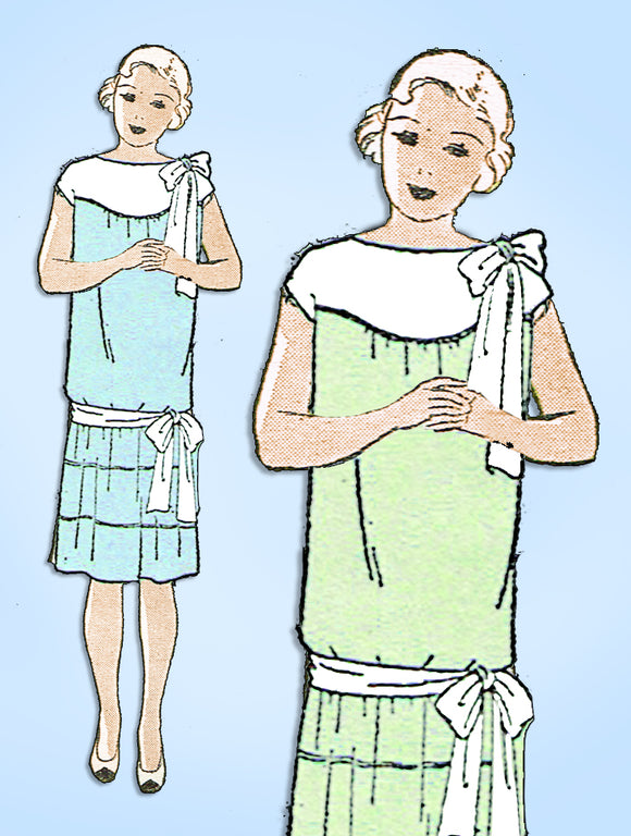 1920s Vintage Vogue Sewing Pattern 2743 Uncut Junior Girls Flapper Dress Size 12