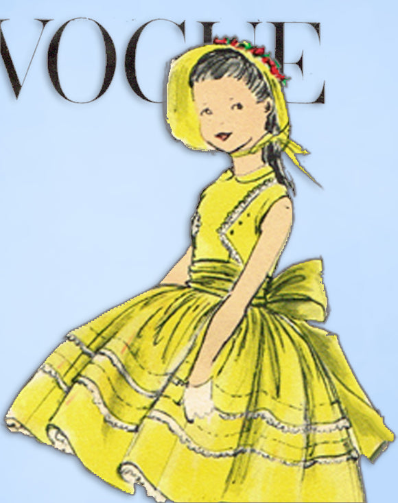 1950s Original Vintage Vogue Sewing Pattern 2744 Toddler Girls Party Dress Sz 6 -Vintage4me2