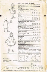 1950s Vintage Vogue Sewing Pattern 2757 Cute Toddler Girls Hooded Coat Size 4
