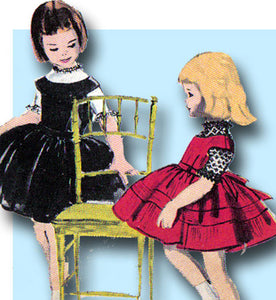 1950s Vintage Vogue Sewing Pattern 2880 Cute Toddler Girls Dress & Jumper Size 4 - Vintage4me2