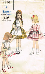 1950s Vintage Vogue Sewing Pattern 2891 Cute Uncut Toddler Girls Dress Size 4