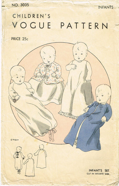 1930s Vintage Vogue Sewing Pattern 3035 Sweet Infants Layette ORIG - Vintage4me2