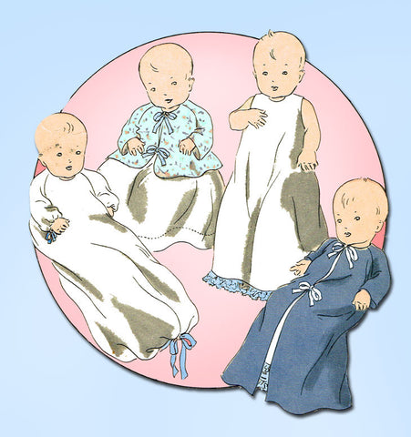1930s Original Vintage Vogue Sewing Pattern 3035 Sweet Infants Layette Pattern