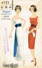 1950s Vintage Vogue Sewing Pattern 4977 Misses Cocktail Dress w Obi Sash Sz 36 B