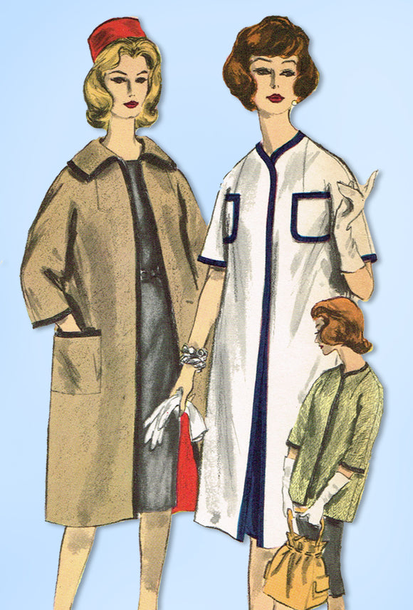 1960s Original Vintage Vogue Pattern 5030 Uncut Misses Easy Reversible Coat 31 B - Vintage4me2