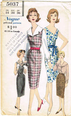 1960s Vintage Vogue Sewing Pattern 5037 Uncut Misses Sheath Dress Size 14 34B