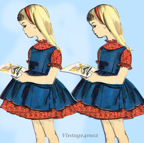 Vogue 5086: 1960s Toddler Girls Dress & Pinafore Size 5 Vintage Sewing Pattern