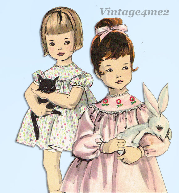 1960s Vintage Vogue Sewing Pattern 5116 Sweet Toddler Girls Flared Dress Size 3 - Vintage4me2