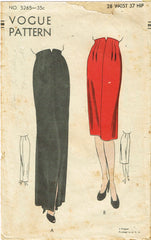 1940s Original Vintage Vogue Pattern 5265 Misses Day or Night Slender Skirt 28 W