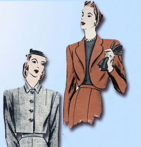 1940s Vintage Vogue Sewing Pattern 5366 WWII Misses Set of Jackets Size 12 30B