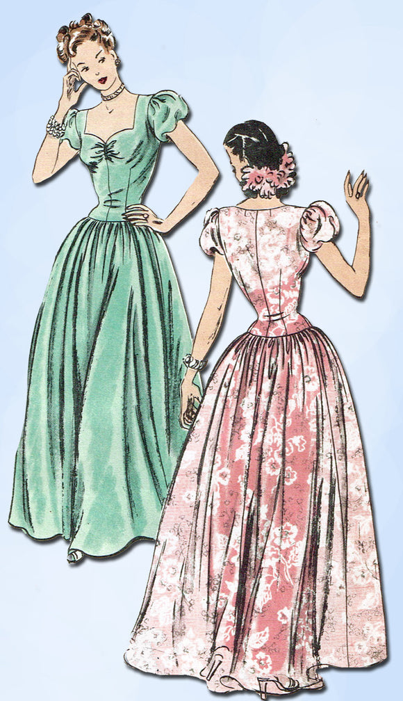 1940s Vintage Vogue Sewing Pattern 5376 Gorgeous Misses Wedding Dress Size 30B - Vintage4me2