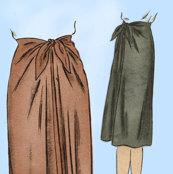 1940s Vintage Vogue Sewing Pattern 5444 Plus Size WWII Wrap Skirt Size 32 Waist - Vintage4me2
