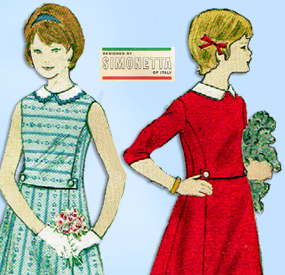Vogue 5661: 1960s Simonetta Designer Girls Dress Size 7 Vintage Sewing Pattern - Vintage4me2