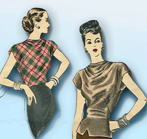 1940s Original Vintage Vogue Pattern 5984 Uncut Misses Simple Blouse Sz 30 Bust