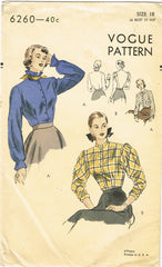 1940s Original Vintage Vogue Pattern 6260 Misses Blouse w Puff Sleeves Sz 36 B