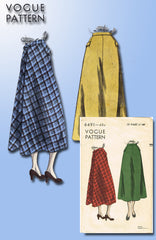 1940s Original Vintage Vogue Pattern 6491 Misses Easy Skirt Flared Back Sz 28 W