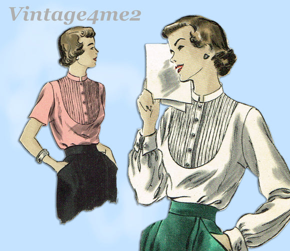 Vogue 6628: 1940s Misses Blouse w Tucked Yoke Sz 30 B Vintage Sewing Pattern