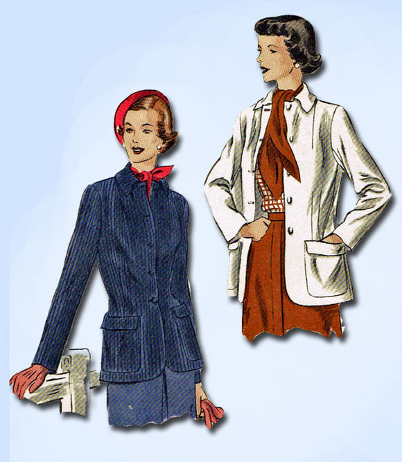 1950s Vintage Vogue Sewing Pattern 6751 Misses Sports Coat or Jacket Size 16 34B