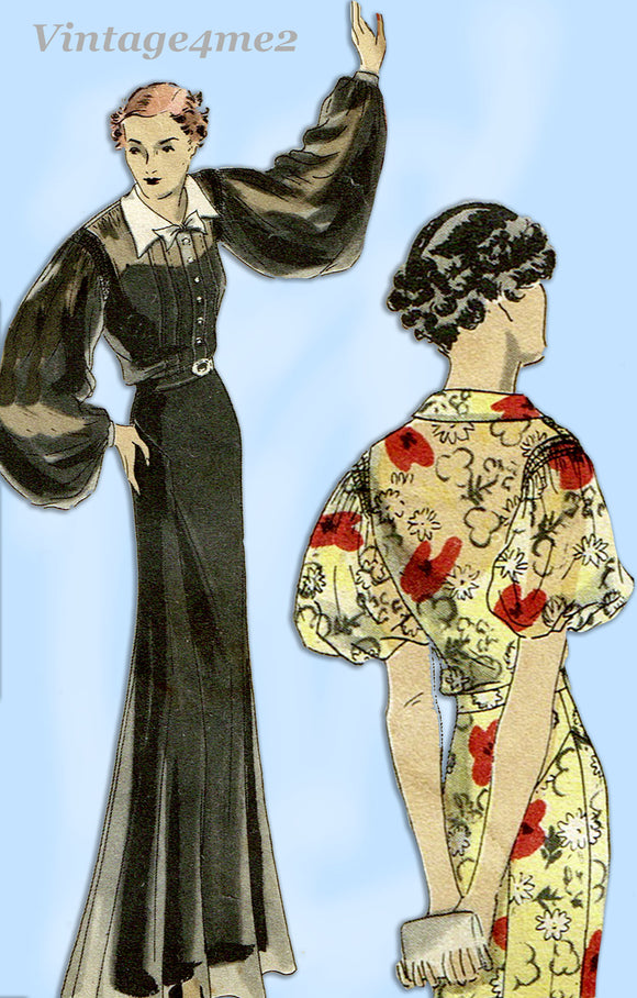 Vogue 6976: 1930s Stunning Misses Dinner Dress Sz 34 Bust Vintage Sewing Pattern