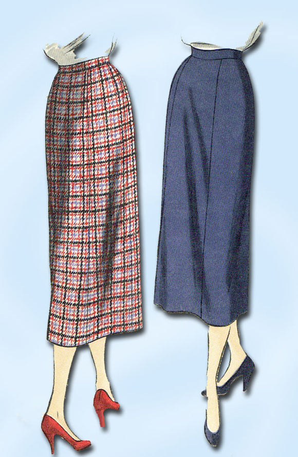 1950s Vintage Vogue Sewing Pattern 7033 Uncut Misses Slender Skirt Size 26 Waist