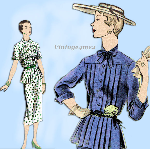 Vogue 7067: 1950s Misses Two Piece Dress Size 32 Bust Vintage Sewing Pattern