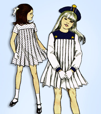1960s Vintage Vogue Sewing Pattern 7080 Uncut Toddler Girls Pleated Dress Size 5