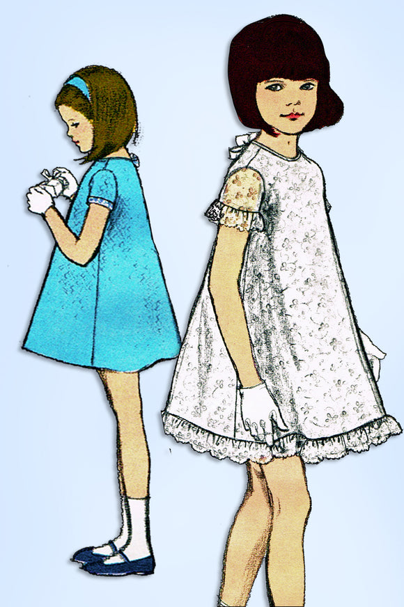 1960s Vintage Vogue Sewing Pattern 7081 Uncut Toddler Girls A-Line Dress Size 5