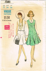 1960s Original Vintage Vogue Sewing Pattern 7541 Misses Drop Waist Dress Sz 34 B