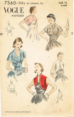 1950s Original Vintage Vogue Pattern 7560 Misses Bolero Capelet or Topper Sz 30B