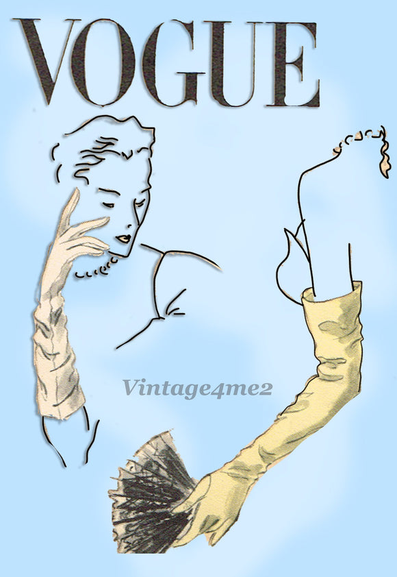 1950s Vintage Vogue Sewing Pattern 7708 Rare Misses Glove Set Size 6