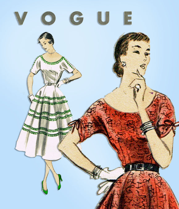 1950s Vintage Vogue Sewing Pattern 7883 Uncut Misses Afternoon Dress Sz 34 Bust