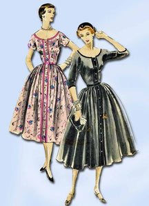 1950s Vintage Vogue Sewing Pattern 8046 Misses Button Front Dress Size 12 30B
