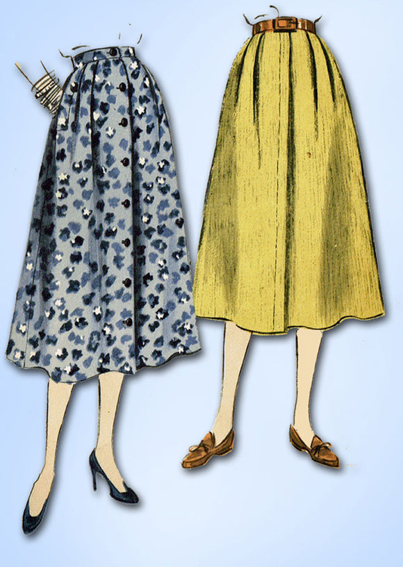 1950s Vintage Vogue Sewing Pattern 8209 Classic Misses Day Skirt Size 26 Waist - Vintage4me2