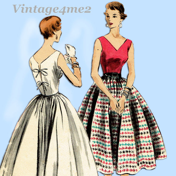 Vogue 8217: 1950s Stunning Misses Cocktail Dress Sz 32 B Vintage Sewing Pattern