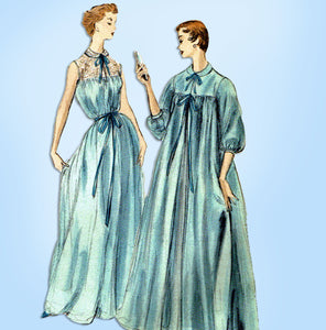1950s Vintage Vogue Sewing Pattern 8448 Uncut Nightgown & Peignoir Robe Sz LRG