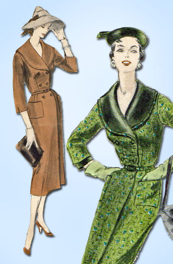 1950s Vintage Vogue Sewing Pattern 8450 Stylish Misses Coat Dress SIze 12 30 B