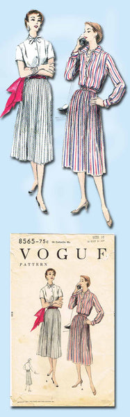 1950s Vintage Vogue Sewing Pattern 8565 Misses Shirtwaist Dress Size 10 28 Bust