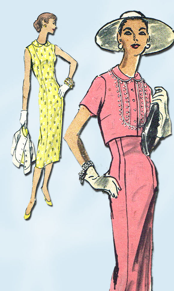 1950s Vintage Vogue Sewing Pattern 8847 Misses Wiggle Dress & Jacket Size 16