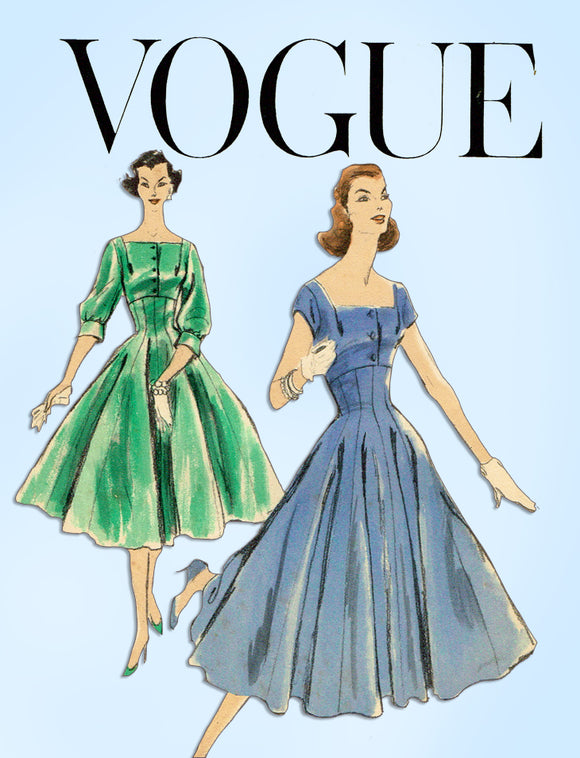1950s Vintage Vogue Sewing Pattern 8882 Misses Empire Waist Cocktail Dress 30 B