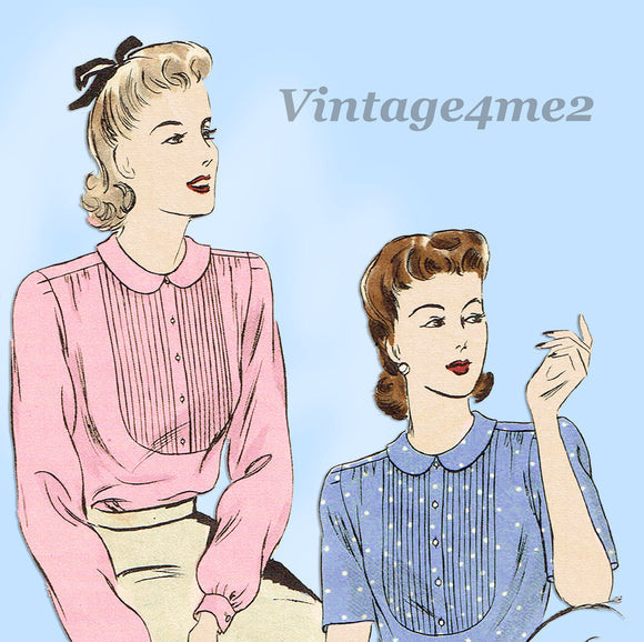 Vogue 9022: 1940s Misses WWII Tucked Blouse Size 36 Bust Vintage Sewing Pattern - Vintage4me2