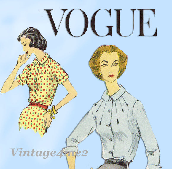Vogue Pattern 9047  Misses Blouse Pattern  with Radiating Tucks  Dated 1957  Complete Nice Condition  8 of 8 Pieces  Size 14 (34