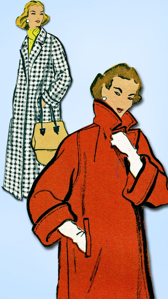 1950s Vintage Vogue Sewing Pattern 9149 Misses Swagger Coat 2 Lengths Sz 12 32B