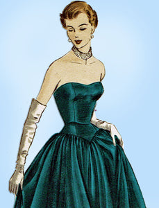 1940s VTG Vogue Special Design Sewing Pattern S-4048 Strapless Evening Gown 34 B