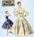 1950s Rare Vintage Vogue Special Design Pattern 4300 Sexy Cocktail Dress Sz 32 B