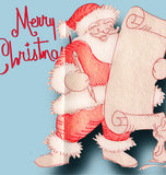 1950s Workbasket Embroidery Transfer 15 Merry Christmas Santa & Happy Dishes FF
