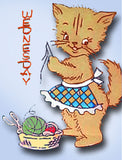 1950s Workbasket Embroidery Transfer 5 Darlin DOW Perky Kitty Uncut ORIGINAL