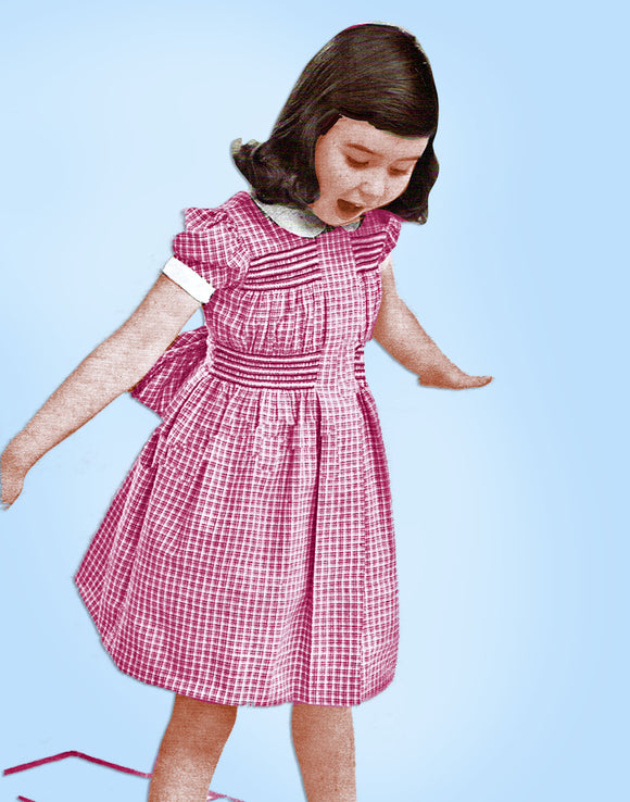 Women's Day 5029: 1950s Vintage Sewing Pattern Girls Shirred Smocked Dress Size 12 Vintage4me2
